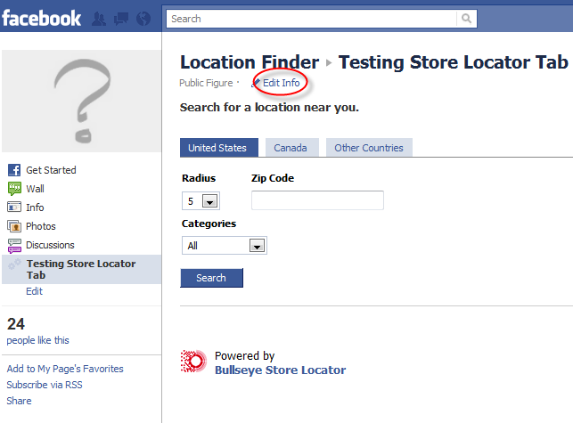 Facebook Store Locator Edit Info