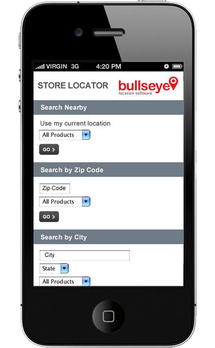 Mobile Store Locator Software screen