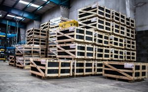 stacked roofing material pallets